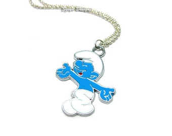 Smurf Necklace - stainless steel chain old school cute necklace kawaii necklace funny necklace retro jewellery nerdy necklace geek 80s 90s