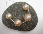 Set of 4 Kasumi style Chinese nucleated wrinkle Pearls - cream, peach, gold nacre, 9.5mm