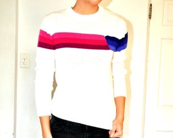 Great 1980s Funky White and Pink Purple Striped Sweater