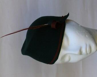 Hunter Green 30s Hat Pixie Turban Hat  Bicorne Millinery  Hand Blocked Hand Draped OOAK