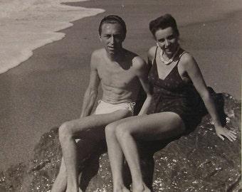 Vintage Photo Postcard - Couple on the Beach