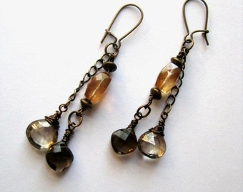 Mystic Copper Quartz, Smokey Quartz and Mystic Light Smokey Quartz Earrings in Antiqued Brass