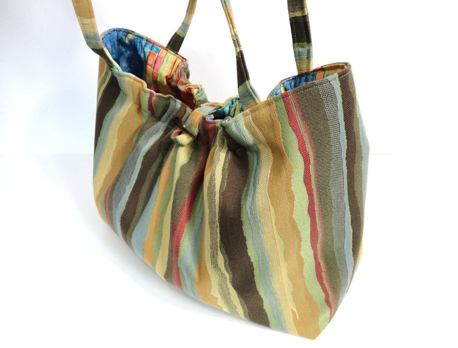 Knitting Project Bags For Sale : Knitting project bag striped tote organizer
