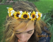 Hippie hair wreath - sunflower hair wreath - custom created hair wreaths - flower girl hair wreath