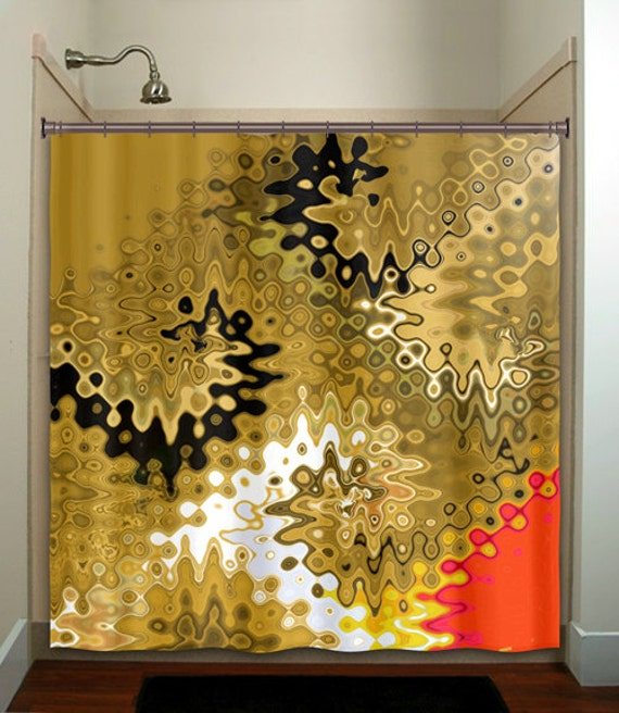 abstract red gold shower curtain bathroom decor by TablishedWorks