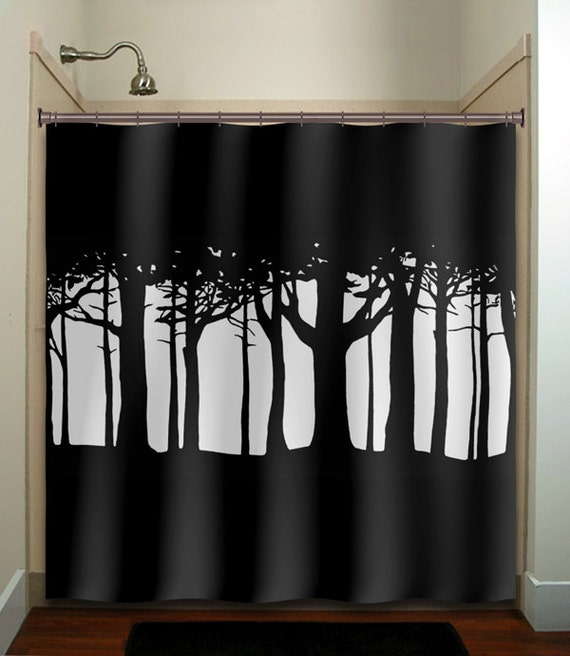 tree woods forest shower curtain bathroom decor fabric kids bath window curtains panels valance bathmat