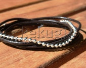 multi wrap brown leather bracelet with silver plated spacers beads