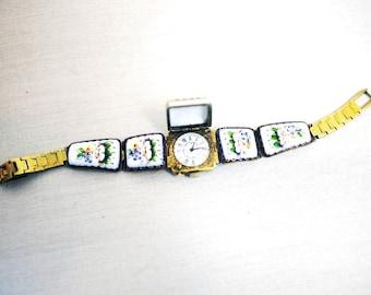 """Vintage Russian Watch """"CHAIKA"""" - Working Ladies Wrist Watch - Enamel Porcelain Bracelet - 1980s - from Russia / Soviet Union / USSR"""
