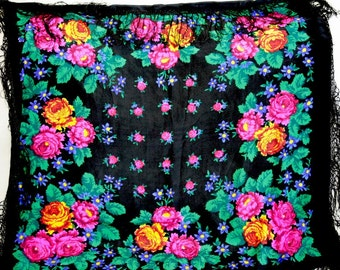 "Russian Head Scarf Vintage Shawl - Floral - Roses on Black - Crepe de chine - 37"" inches - From Russia / Soviet Union / USSR"