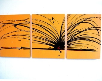 Original Art by UK artist S.Wright abstract painting triptych large wall contemporary canvas office home abstract paintings on hanging kunst