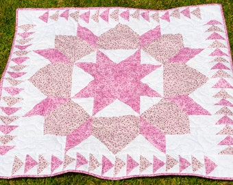 Quilted Wall Hanging - Handmade - Pink, Floral, Flowers - Traditional - Patchwork, Table Topper