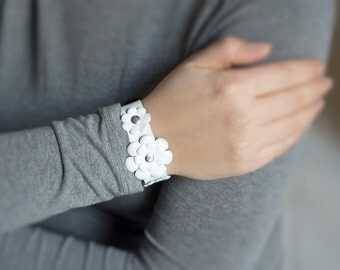 White leather cuff bracelet with flowers