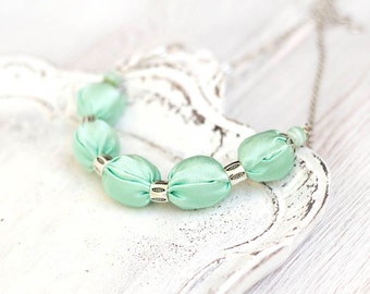 Mint green fabric necklace Bridesmaid necklace