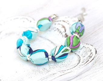 Turquoise blue fabric beads necklace SALE