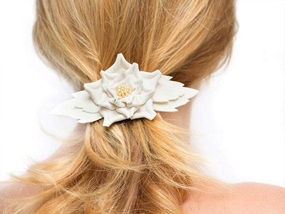 Cream leather flower barrette hair clip