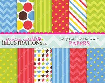Boy Rock Band Owls Cute Digital Papers Backgrounds for Invitations, Card Design, Scrapbooking, and Web Design