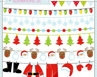 Christmas Garland Cute Digital Clipart for Invitations, Card Design, Scrapbooking, and Web Design