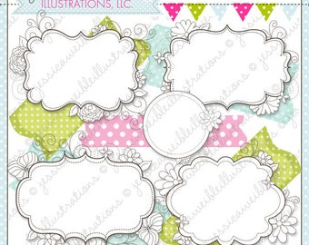 Vintage Doodle Frames - Cute Digital Clipart for Commercial and Personal Use, Frames Clipart, Vintage