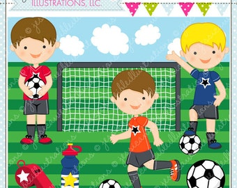 Soccer Boys Cute Digital Clipart for Commercial and Personal Use, Soccer Clipart, Soccer Graphics