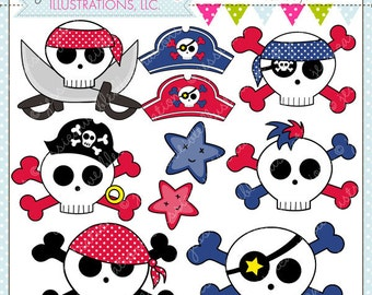 Sweet Skulls V2 for Boys Cute Digital Clipart for Commercial or Personal Use, Skull and Crossbones Clipart, Skull Graphics