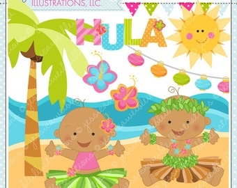 Hula Baby V2 Dark Cute Digital Clipart for Commercial or Personal Use, Luau Clipart, Hula Clipart, Tiki Baby