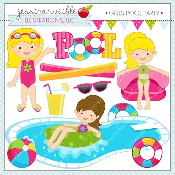 Girls pool party cute clipart pool party clip by jwillustrations for Free clipart swimming pool party