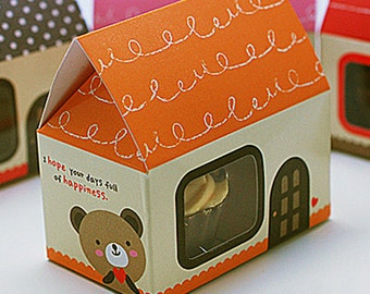 5 Mini House Paper Gift Boxs - Orange (2.5 x 1.6 x 2.5in)