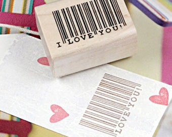 I Love You Barcode Stamp (1.6 x 1.2in)