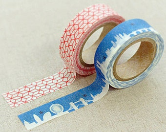 2 Set - Misty Red Blue Night Adhesive Masking Tapes (0.6in)