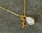 Bridesmaids Initial Necklace w Swarovski Pearl Charm