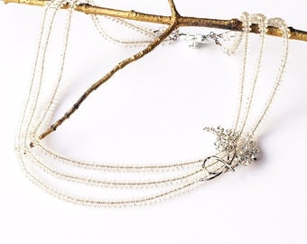 OOAK - Vintage Triple Strand Austrian Crystal Necklace Bridal Wedding Stinning