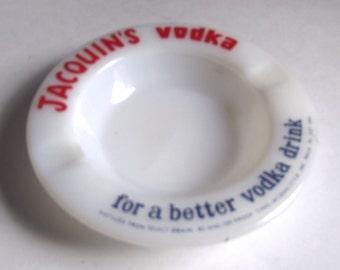 Sale 50% Off 1960s Jacquin's Vodka Milk Glass Advertising Ash Tray