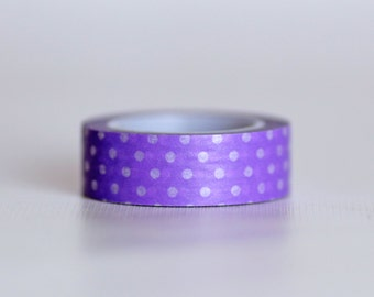 Grape Polkadot Washi Tape-  Single Roll 10 m