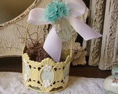 Easter basket gift candy container metal basket Yellow aqua blue spring Shabby Home table decor gift embellished gift basket with tag