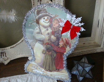 Christmas table centerpiece Victorian Snowman table decor wood Vintage style snowman and children wood sign kitchen Christmas decor glitter