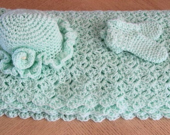 Crocheted Baby Blanket, Ruffled Hat and Booties