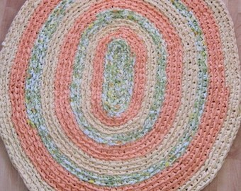 Crocheted Oval Rug - Yellow, Medium Orange and Floral Green