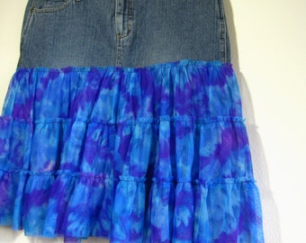 upcycled denim skirt for women, blue, purple