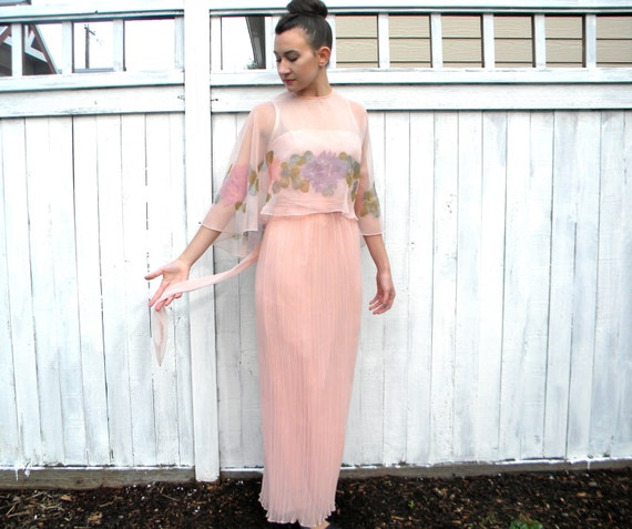 Watercolor Party Dress 70s Sheer Pink Crepe Chiffon Floral Gown, Small