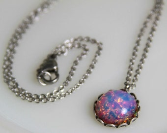 Opal Necklace  Vintage Pink Fire Opal Glass Quality Steel Chain