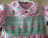 "Hand Smocked ""Tiptoe"" Dress Size 3T to 4T"