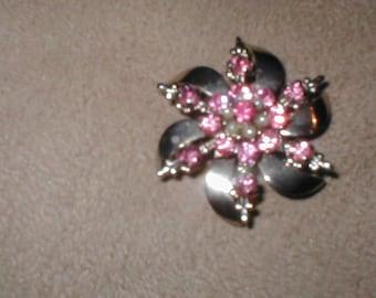Vintage Pink Rhinestone Brooch Pin