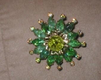 Large Vintage Green Rhinestone Brooch Pin