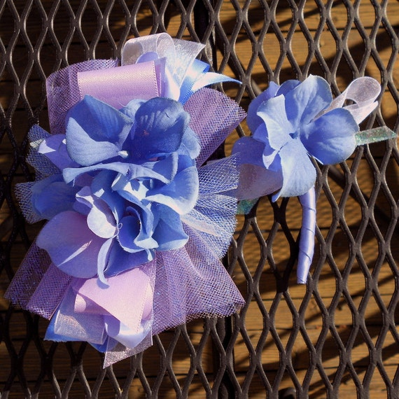 Periwinkle And Purple Artficial Hydrangea Wrist Corsage And