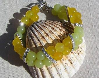 "Olive Jade & Yellow Agate Crystal Gemstone Bracelet ""Daffodil"" Yellow Bracelet, Chakra Bracelet, Cuff Bracelet, Lemon Bracelet, Libra"