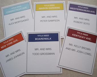 Monopoly Title Deed Escort Cards