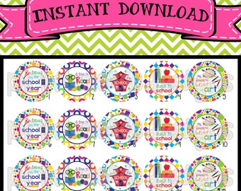 """Ready for School  - INSTANT DOWNLOAD 1"""" Bottle Cap Images 4x6 - 448"""