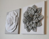 """TWO Wall Flowers -Gray Dahlia on White and White Rose on Gray- 12 x12"""" Canvas Wall Art- Baby Nursery Wall Decor-"""