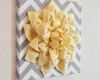 "Wall Flower -Light Yellow Dahlia on Gray and White Chevron 12 x12"" Canvas Wall Art- 3D Felt Flower"