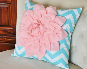 Light Pink Dahlia on Aqua and White Zigzag Pillow -Decorative Chevron Pillow-